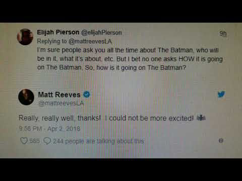 Matt Reeves Updates on The Batman with a Tweet that doesn't really Update