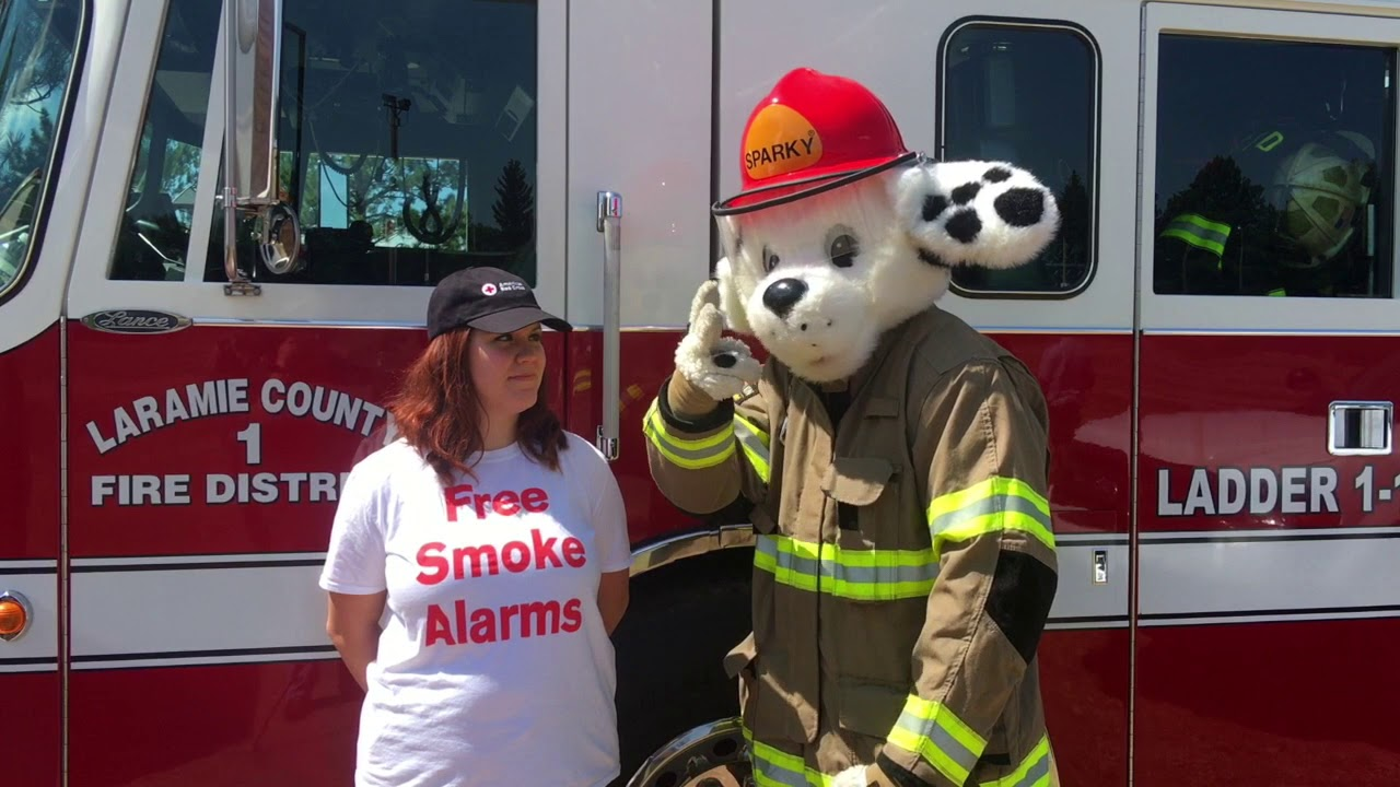 Sound The Alarm With Red Cross And Sparky Fire Dog
