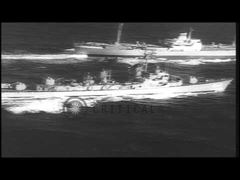 Soviet ships loaded with rockets withdraw from the Cuba to mark the end of the Cu...HD Stock Footage