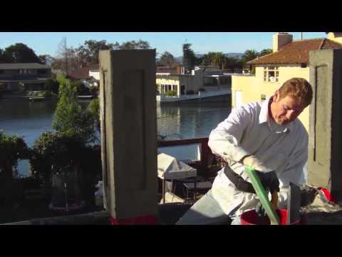 Plastering of Pillars, hand hopper sprayer