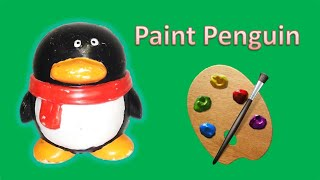 DIY paint a penguin doll craft. Tencent Logo. learn colors.   Crazy Dayou