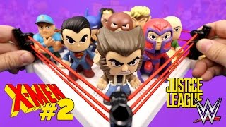 X-Men Shake Rumble Game #2 vs Justice League Toys & WWE Superheroes Mystery Minis Unboxing
