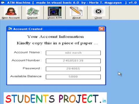 Atm Banking Students Project In Vb Youtube