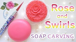 SOAP CARVING| Angled View Of A Rose And Swirls | Advanced | Satisfying | Tutorial | thumbnail