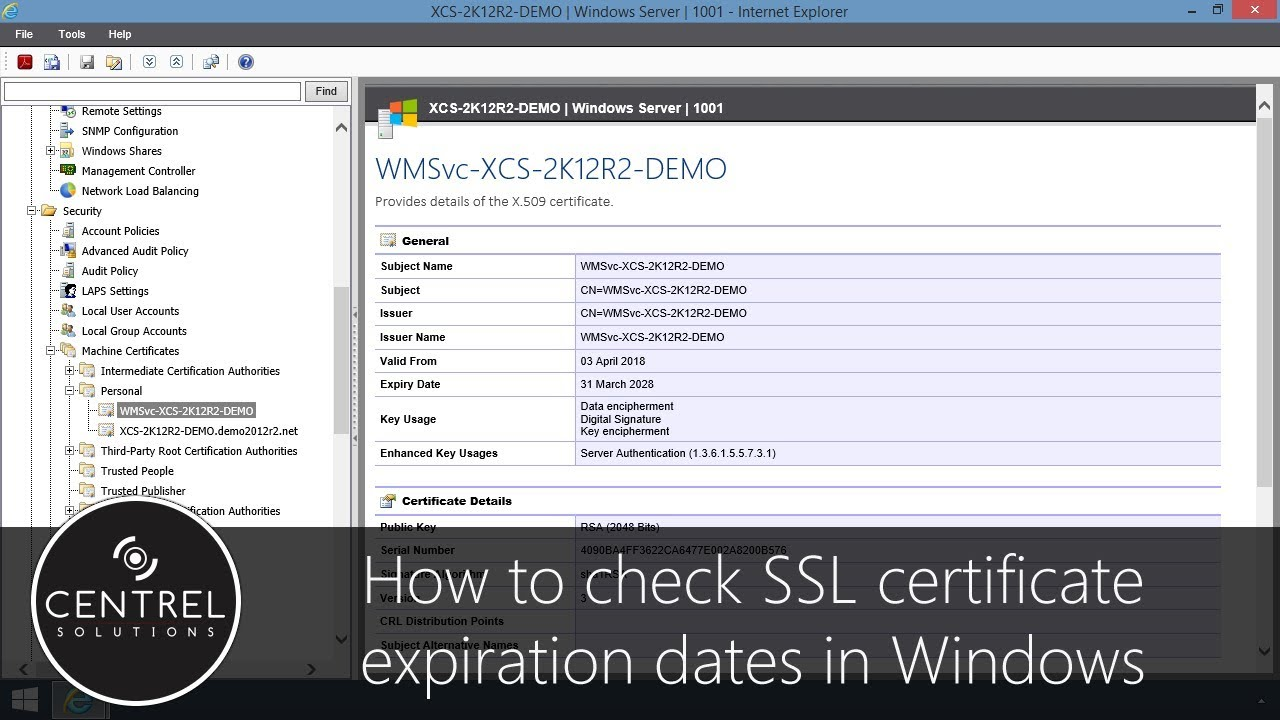 How To Check Ssl Certificate Expiration Dates In Windows Youtube