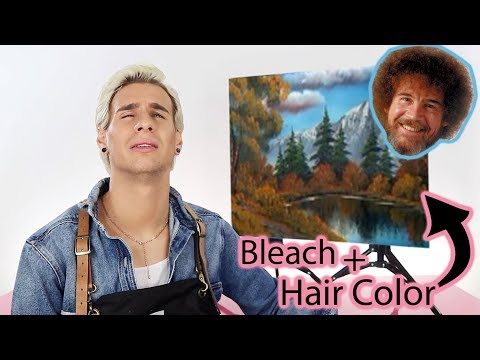 FOLLOWING A BOB ROSS TUTORIAL USING ONLY HAIR COLOR AND BLEACH