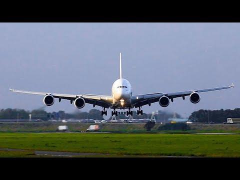 A380 Emirates EXTREME Crosswind landing