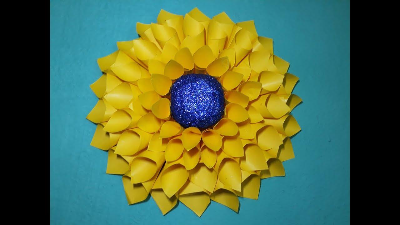 How to make big giant sunflower, wall hanging big sunflower making ...