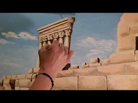 acrylic painting  Baalbek Lebanon  by Roula El khoury