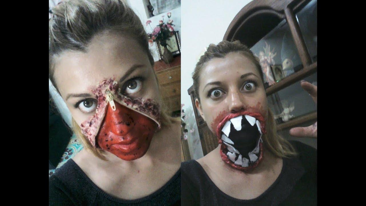 Maquillajes para halloween cara abierta por cierre y - Como maquillarse de zombie ...