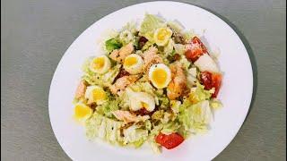 Салат из пекинской капусты с лососем/вкусный и полезный салат/быстрый и полезный ужин