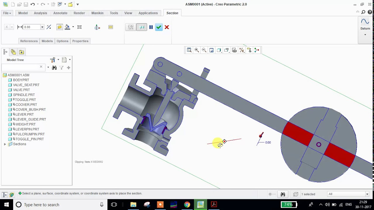 hight resolution of lever safety valve assembly and modelling review using creo parametric