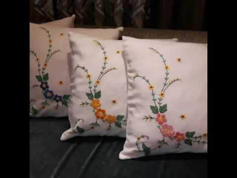 Hand Embroidered Cushion Covers - YouTube