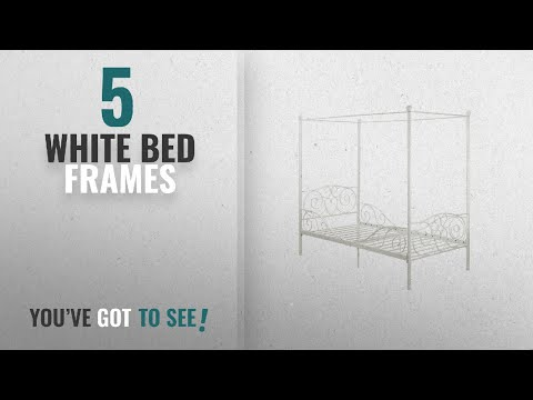 Top 10 White Bed Frames [2018]: DHP Canopy Metal Bed Frame, Twin Size, White