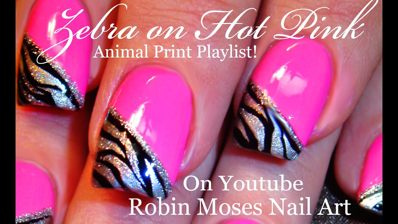 Zebra Print on HOT Pink Nails | Neon Animal Nail Art Design Tutorial ...