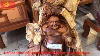 Tượng Phật Di Lặc Tứ Linh Gỗ Hương cao cấp