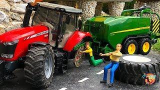 BRUDER TRAKTOR MASSEY FERGUSON Broken Wheel!! Tractors CLAAS NEW HOLLAND and SCANIA TRUCK CRANE