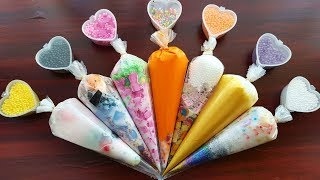 Making Crunchy Slime with Piping Bags and Foam Beads Small Hearts
