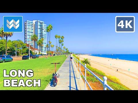 [4K] Bluff Park to Belmont Pier in Long Beach, California USA - Scenic Beach Walking Tour 🎧
