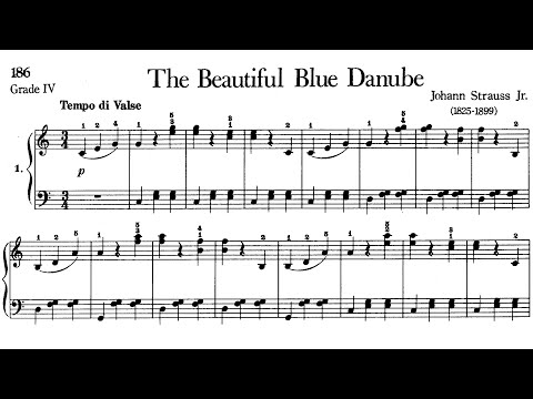 Piano Pieces for Children Grade 4 No.12 Strauss The Beautiful Blue Danube (P.186) Sheet Music