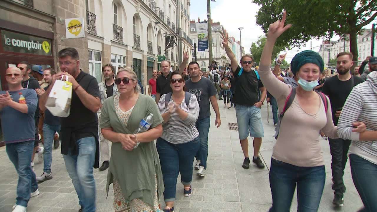 Nantes, France: Protesters Rally Against Deadly Forced Vaccinations & Wuhan Covid Passes
