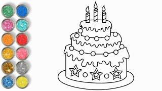 Vẽ và tô màu bánh sinh nhật cho bé  ♥ How to draw a Birthday Cake ♥