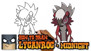 How to Draw Lycanroc Midnight Form | Pokemon