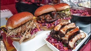 Huge Sandwiches With Ribs and Pulled Meat. Yummy Street Food of London