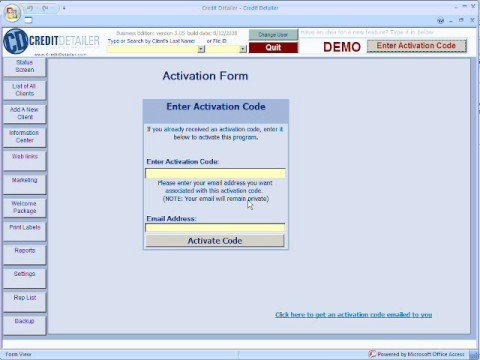 Activating Credit Detailer software
