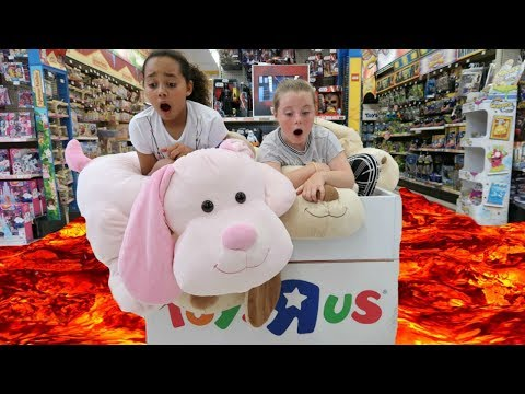 THE FLOOR IS LAVA CHALLENGE AT TOYS R US (GONE WRONG) Losers Eat Bean Boozled