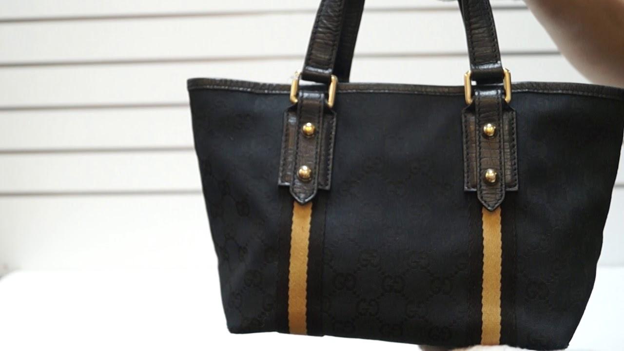 a3cf94005 GUCCI Black GG Canvas Jolicoeur Yellow Stripe Small Tote Bag TT3137 ...