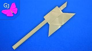 видео как сделать топор из бумаги