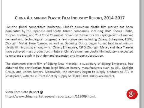China Aluminum Plastic Film Industry Analysis and 2017 Forecasts
