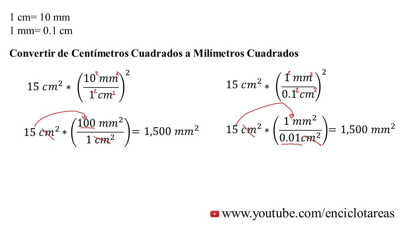 Convertir centimetros cuadrados a milimetros cuadrados cm2 a mm2 youtube - Pasar de metros a metros cuadrados ...