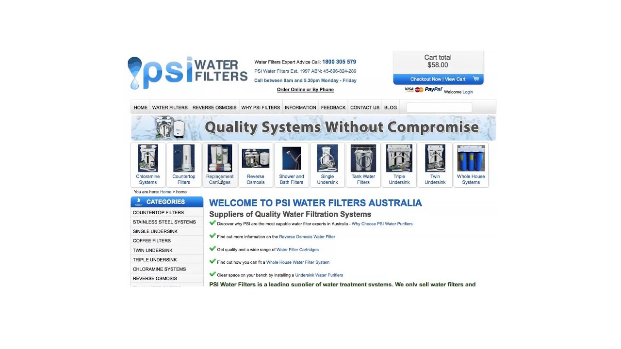 Australia's No 1 Water filter and reverse osmosis systems