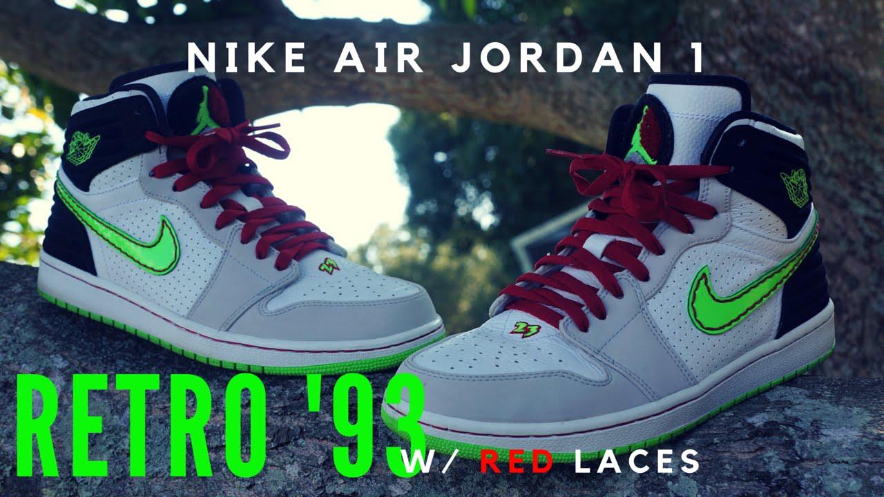50a2494856 Nike Air Jordan 1 Retro '93 Basketball Shoes On Feet - YouTube
