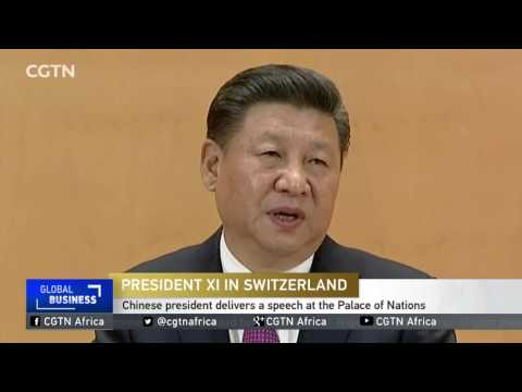 Chinese president delivers a speech at the Palace of Nations
