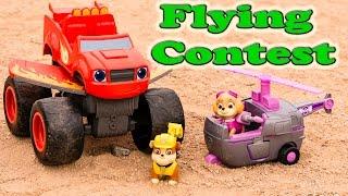 PAW PATROL Nickelodeon Paw Patrol Blaze Flying Contest & Dinosaurs  a Paw Patrol Kids Video Parody