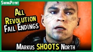 Detroit Become Human - Markus SHOOTS North - All FAILED Revolution Endings + Revolution Dirty Bomb