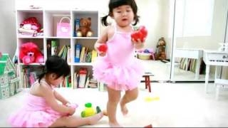 ballerinas tea party two year old twin babies talking to each other mov