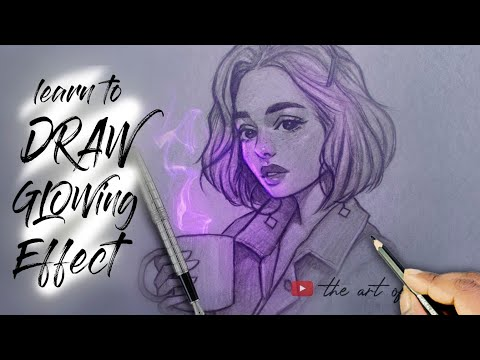 How to draw Glowing effect | Glowing effect drawing step by step tutorial