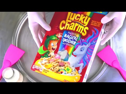 Ice Cream Rolls   Lucky Charms with magical Unicorn Marshmallows - most satisfying ASMR Food Video