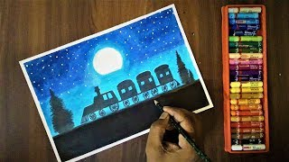 How to Draw Moonlight Scenery (Very Easy) with Oil Pastels | For Beginners