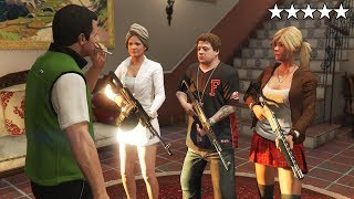 GTA 5 - Michael's Family VS Five Star COP BATTLE IN MICHAEL'S MANSION! (Amanda, Tracey and Jimmy)