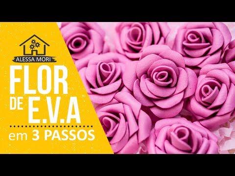 ⭐ COMO FAZER FLOR DE EVA EM 3 PASSOS | DIY MINI ROSAS