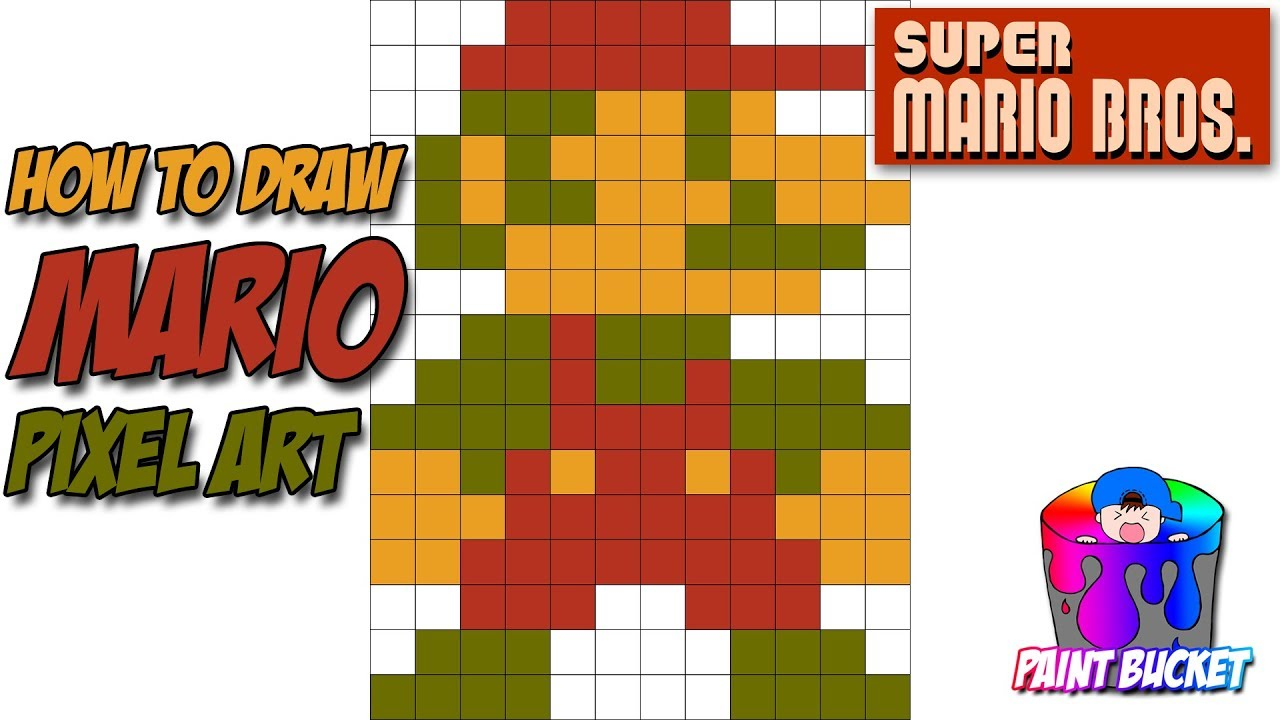 How To Draw Mario Super Mario Bros Pixel Art Drawing Tutorial