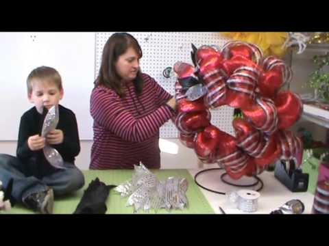 Trendy Tree Video Tutorial Red Wreath With Raz Silver Bell