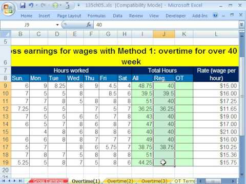 Excel Busn Math  Gross Pay And Overtime  Examples  Youtube