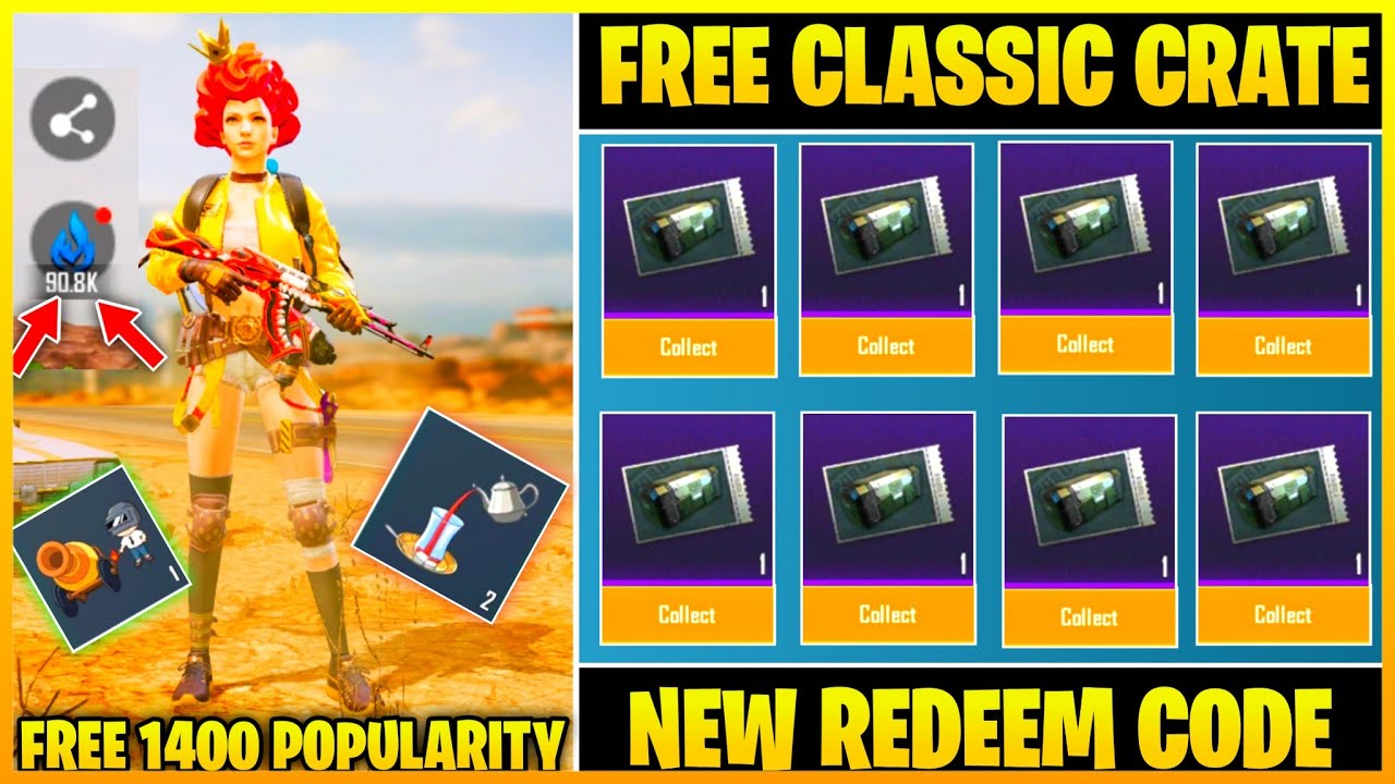 PUBG MOBILE REDEEM CODE GET FREE CLASSIC CRATE COUPON ...
