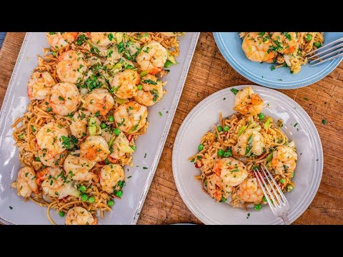 how-to-make-spanish-shrimp-scampi-&-pimento-rice-with-peas-by-rachael